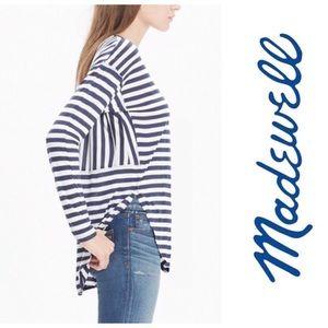 Madewell Anthem Navy White Striped Vneck Shirt